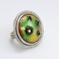 """Floating In Green"" Ring"